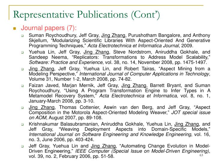 Representative Publications (Cont')