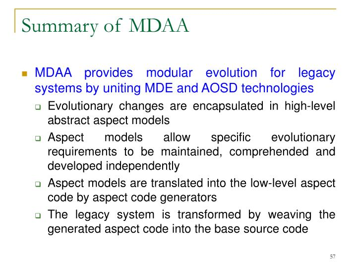Summary of MDAA