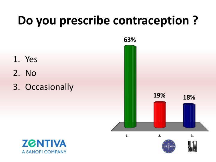 Do you prescribe contraception ?
