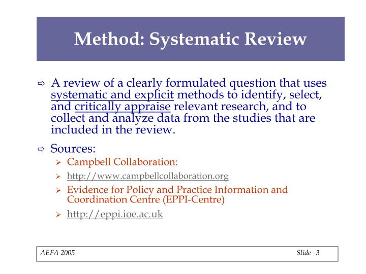 Method systematic review