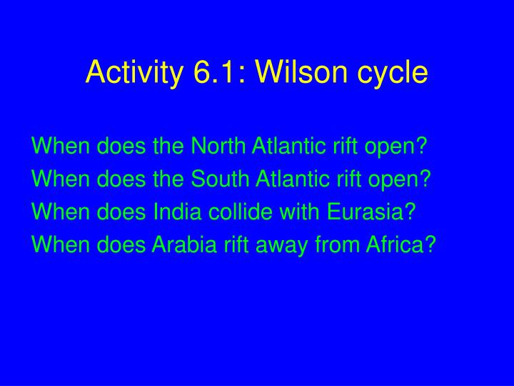 Activity 6.1: Wilson cycle