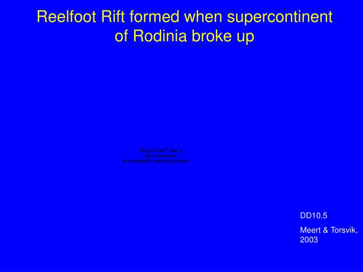 Reelfoot Rift formed when supercontinent of Rodinia broke up