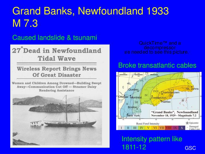 Grand Banks, Newfoundland 1933      M 7.3