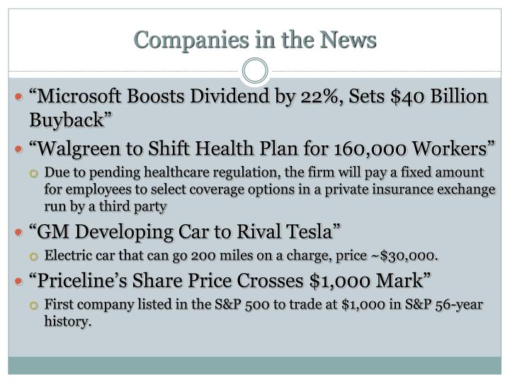 Companies in the News