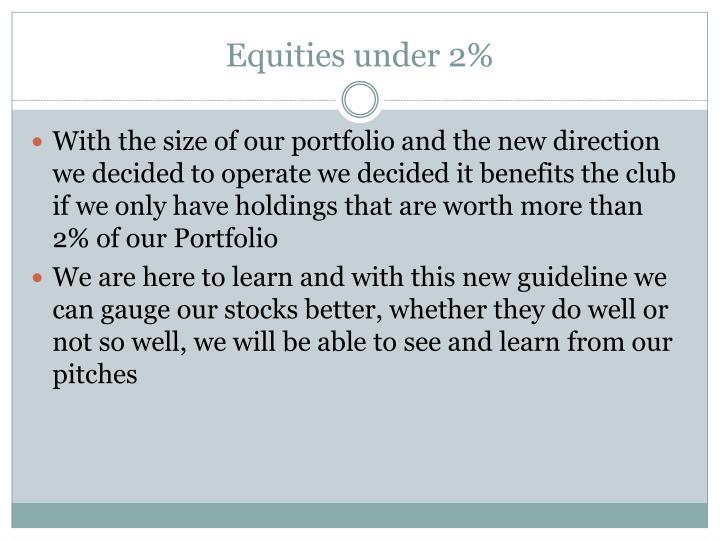 Equities under 2%