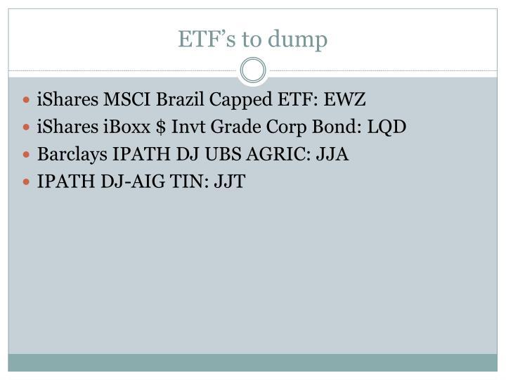 ETF's to dump