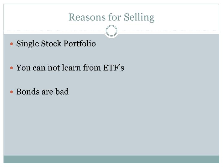 Reasons for Selling