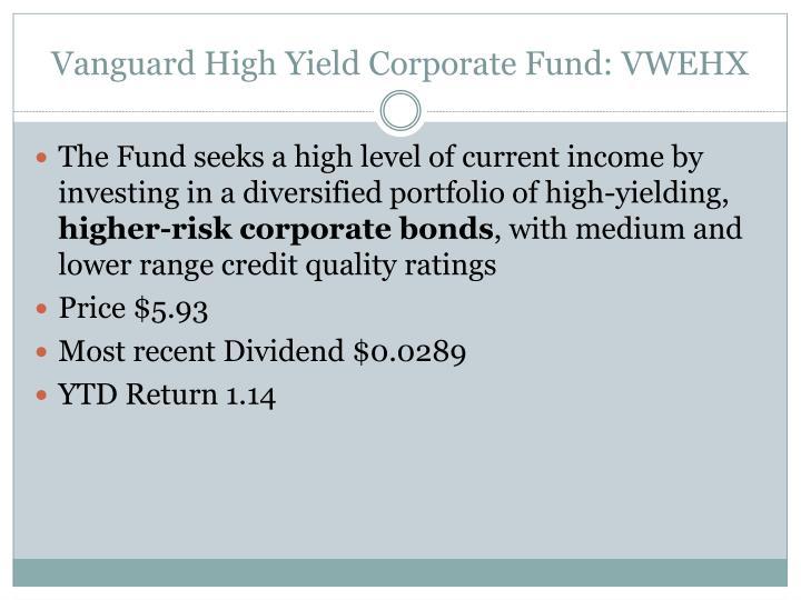Vanguard High Yield Corporate Fund: VWEHX
