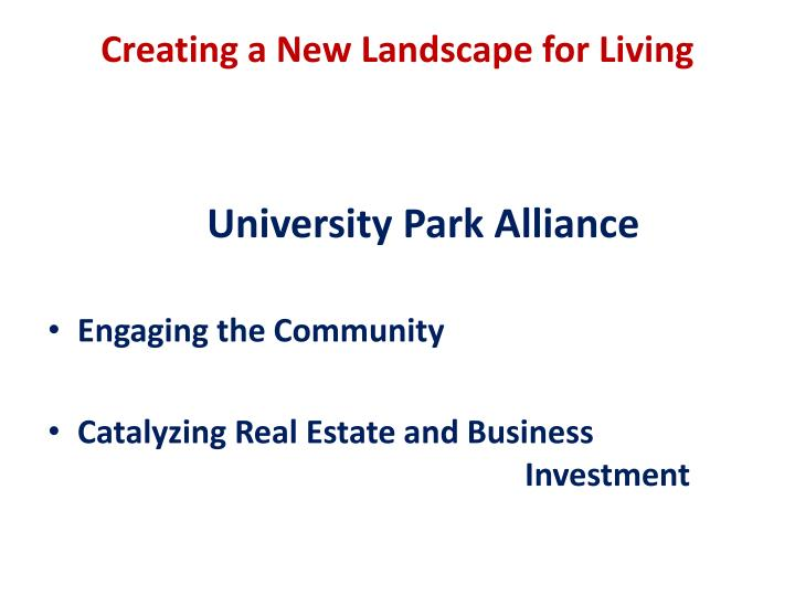 Creating a New Landscape for Living