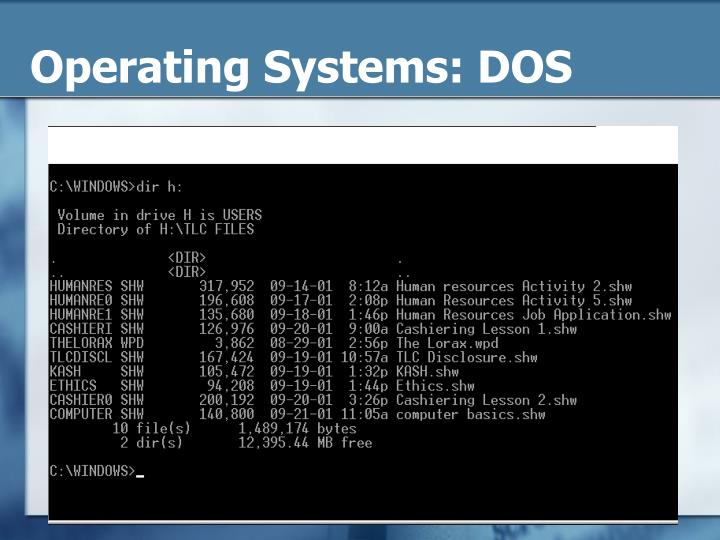 Operating Systems: DOS