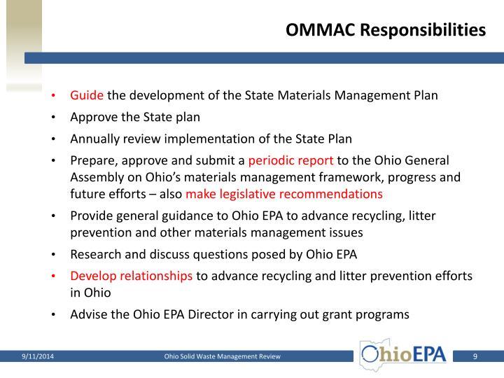 OMMAC Responsibilities