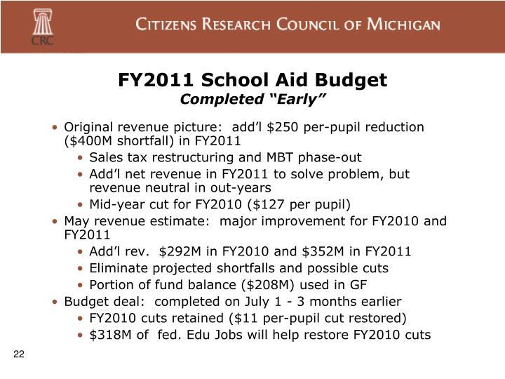 FY2011 School Aid Budget