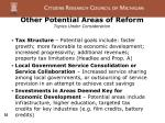 other potential areas of reform topics under consideration