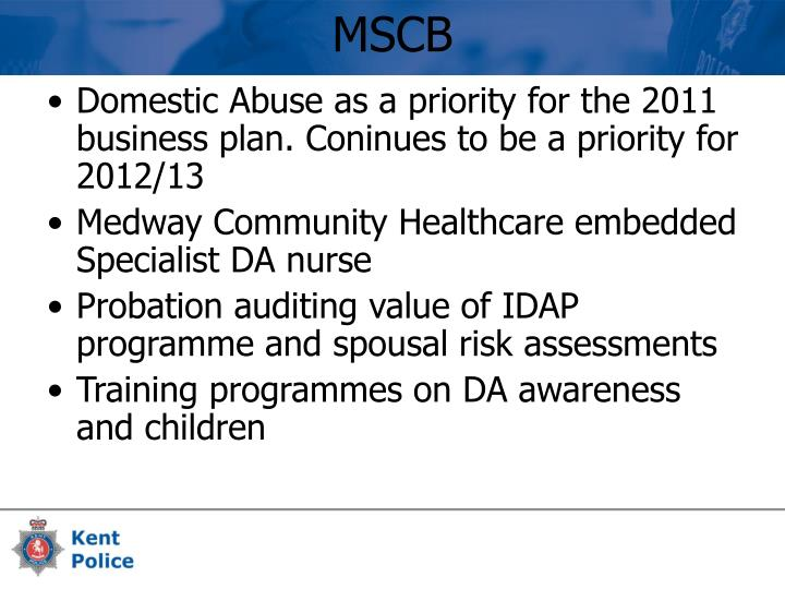 Domestic Abuse as a priority for the 2011 business plan. Coninues to be a priority for 2012/13