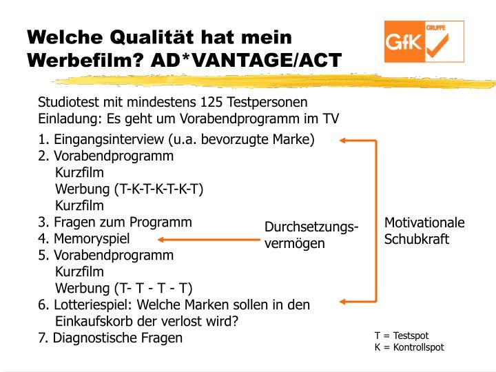 Welche Qualität hat mein Werbefilm? AD*VANTAGE/ACT