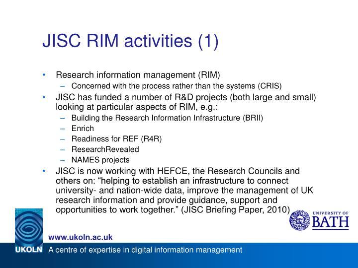 JISC RIM activities (1)