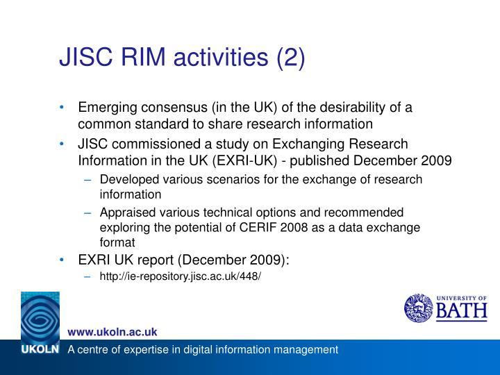 JISC RIM activities (2)