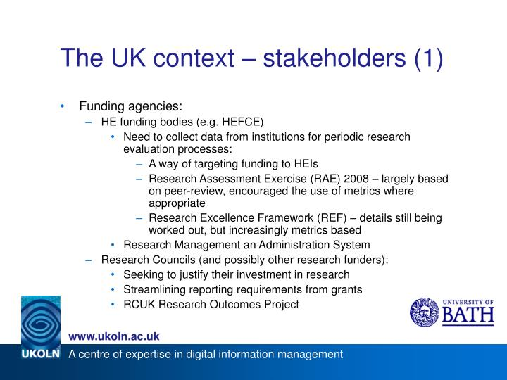 The UK context – stakeholders (1)