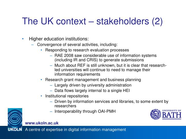 The UK context – stakeholders (2)