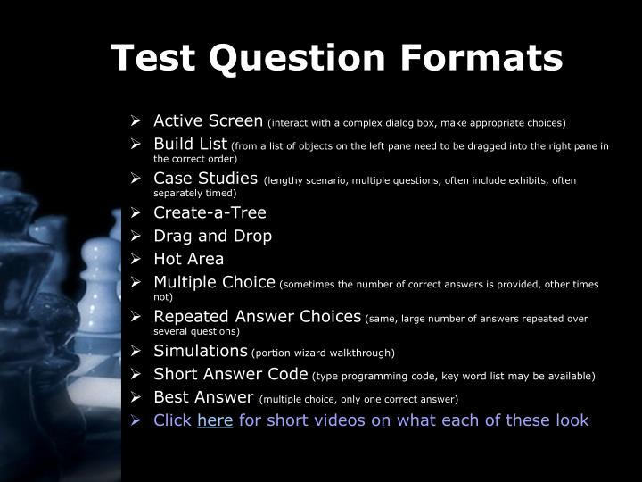 Test Question Formats
