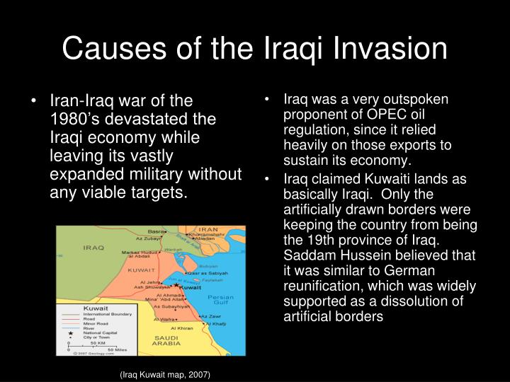 Iran-Iraq war of the 1980's devastated the Iraqi economy while leaving its vastly expanded military without any viable targets.