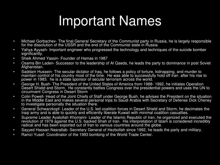 Important Names