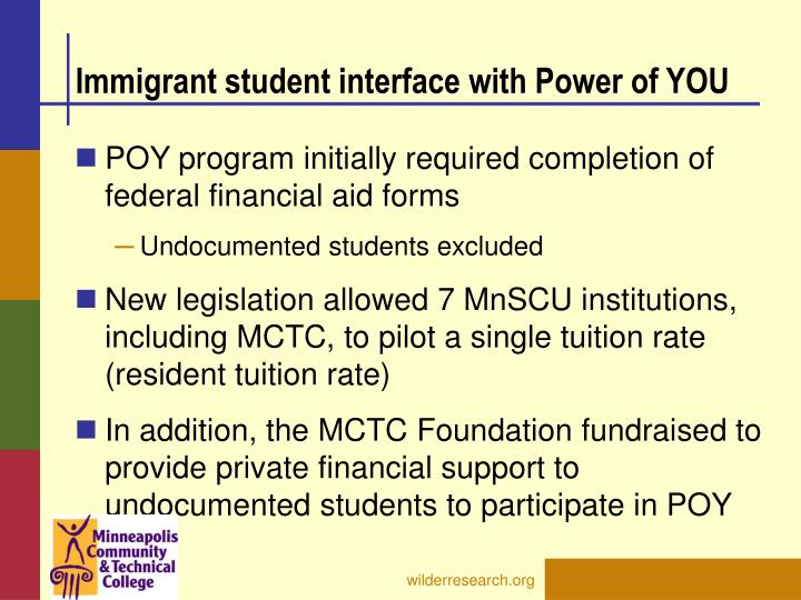 Immigrant student interface with Power of YOU