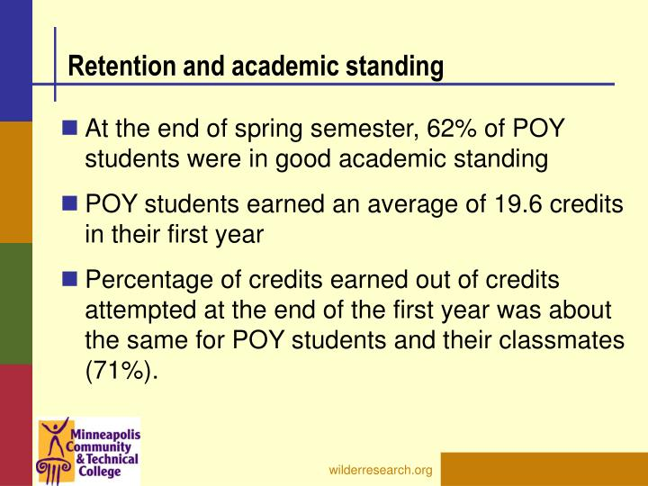 Retention and academic standing