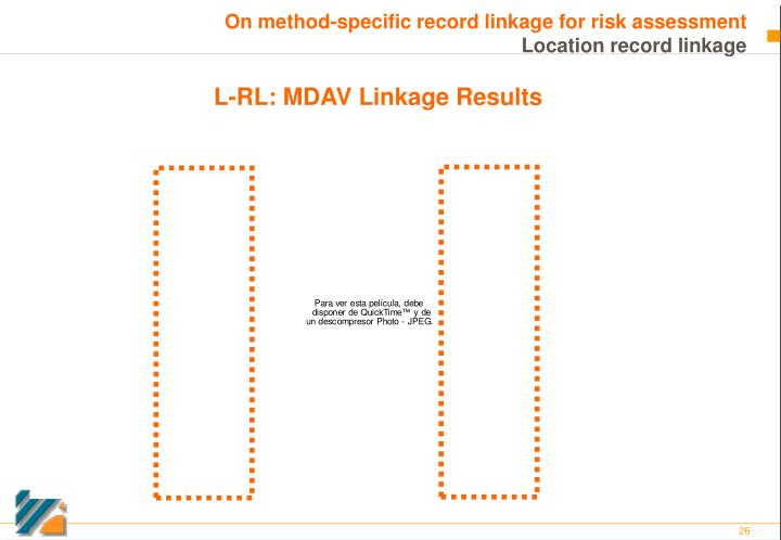 On method-specific record linkage for risk assessment