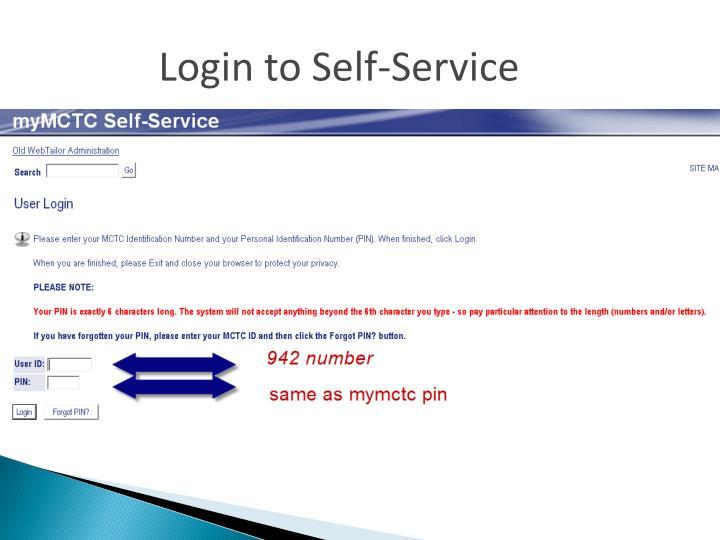 Login to Self-Service