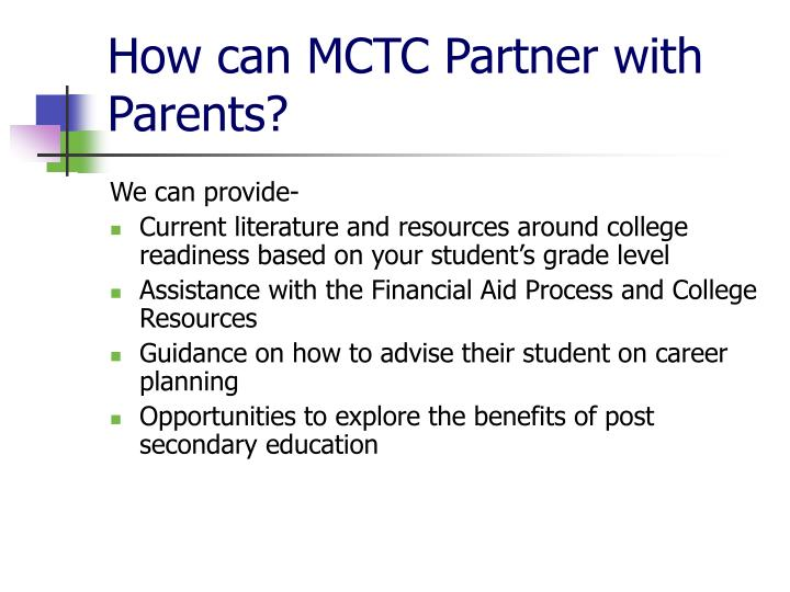 How can MCTC Partner with Parents?