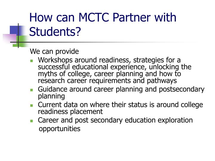 How can MCTC Partner with