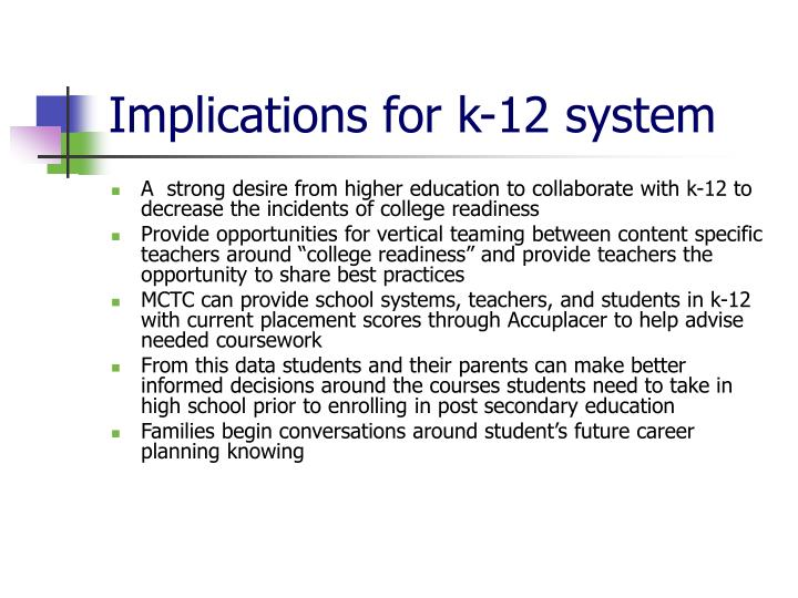 Implications for k-12 system