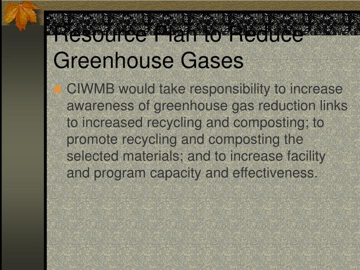 Resource Plan to Reduce Greenhouse Gases