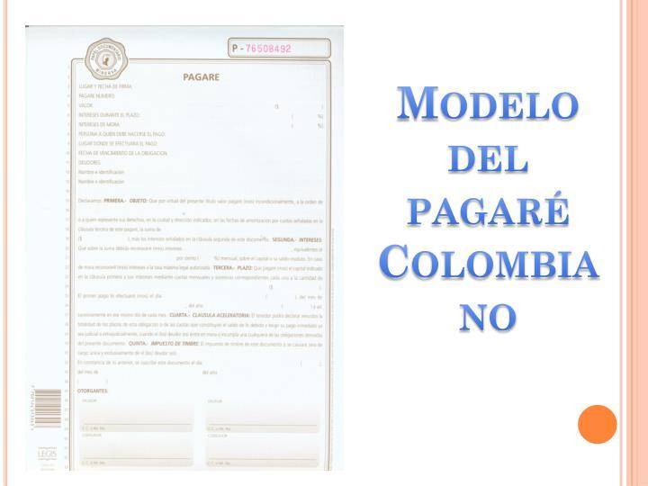 Modelo del pagaré Colombiano