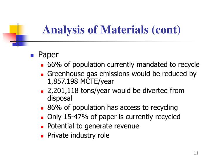 Analysis of Materials (cont)