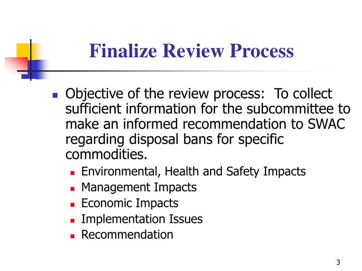 Finalize Review Process