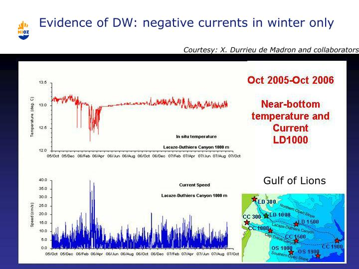 Evidence of DW: negative currents in winter only