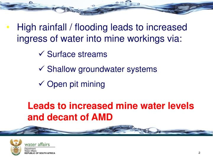 High rainfall / flooding leads to increased ingress of water into mine workings via: