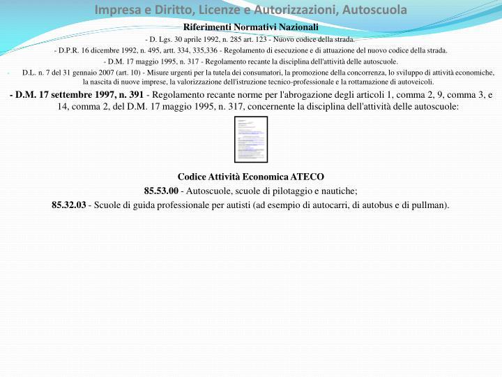 Impresa e Diritto, Licenze e Autorizzazioni, Autoscuola