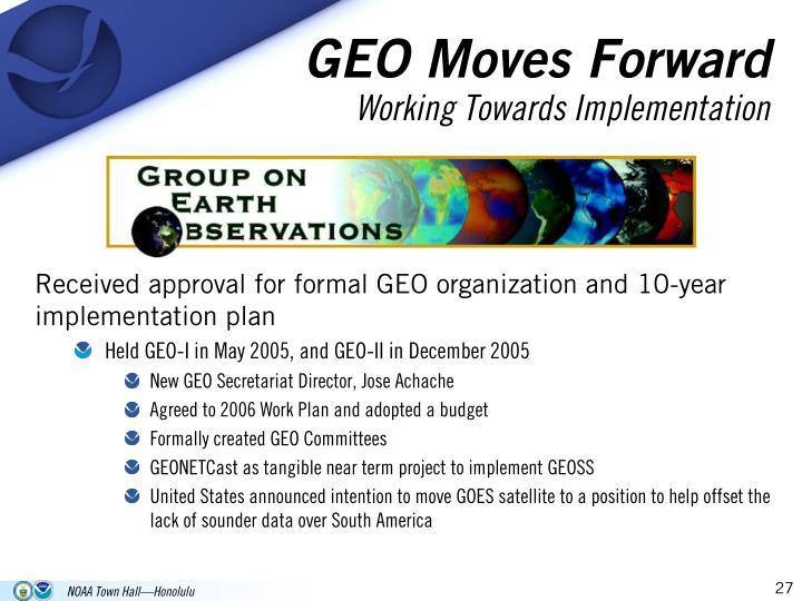 GEO Moves Forward