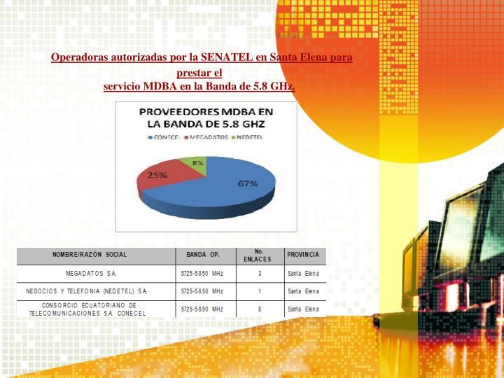 Operadoras autorizadas por la SENATEL en Santa Elena para prestar el