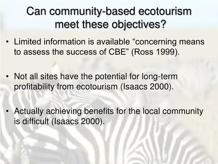 Can community-based ecotourism