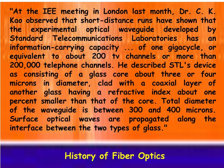 """""""At the IEE meeting in London last month, Dr. C. K. Kao observed that short-distance runs have shown that the experimental optical waveguide developed by Standard Telecommunications Laboratories has an information-carrying capacity ... of one gigacycle, or equivalent to about 200 tv channels or more than 200,000 telephone channels. He described STL's device as consisting of a glass core about three or four microns in diameter, clad with a coaxial layer of another glass having a refractive index about one percent smaller than that of the core. Total diameter of the waveguide is between 300 and 400 microns. Surface optical waves are propagated along the interface between the two types of glass."""""""