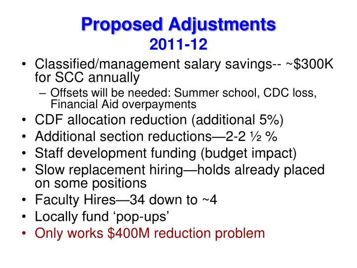 Proposed Adjustments