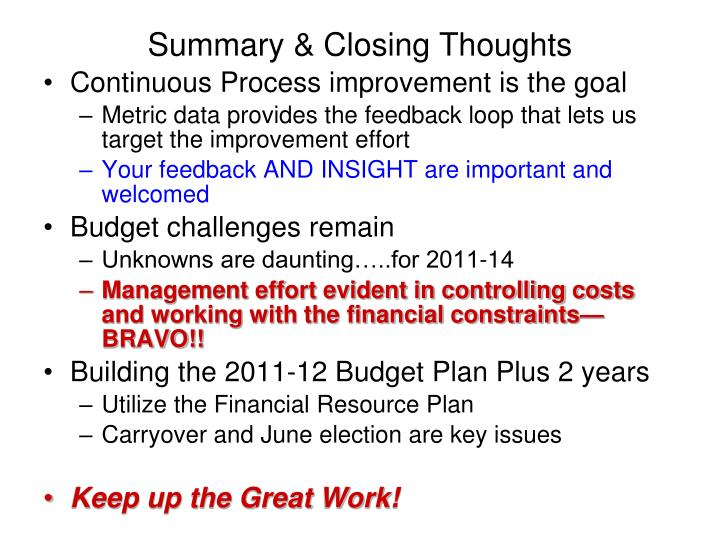Summary & Closing Thoughts