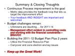 summary closing thoughts