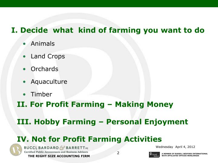 I. Decide  what  kind of farming you want to do