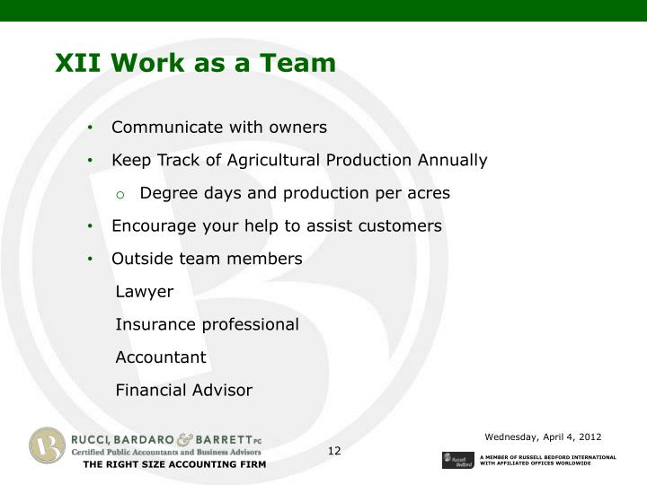 XII Work as a Team
