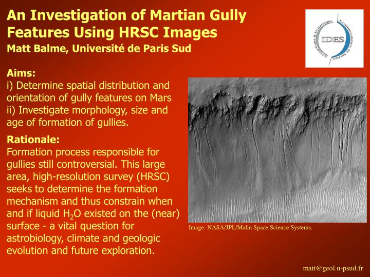 An Investigation of Martian Gully